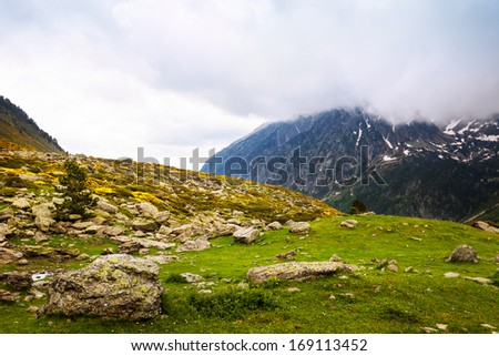 mountain pass in cloudy day. Pyrenees - stock photo