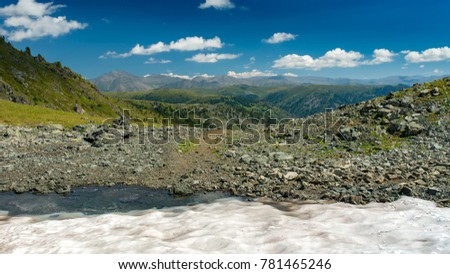 Mountain pass with snow, Altay, Siberia, Russia, Autumn
