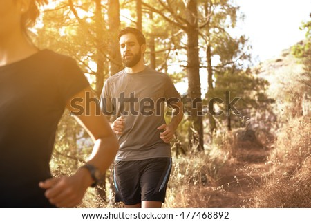 Mountain path in the late afternoon sunshine beside pine trees with part joggers wearing casual clothing