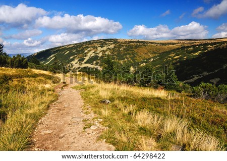 Mountain path in valley in the national park Krkonose