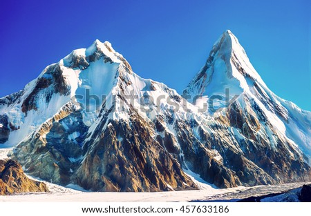 Mountain peak Everest. Highest mountain in the world. National Park, Nepal. - stock photo