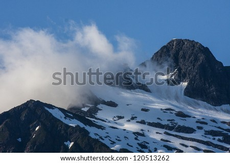Mountain peak in Alaska, Juneau - stock photo