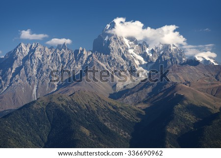 Mountain peak. Main Caucasian Ridge, Mount Ushba. Zemo Svaneti, Georgia  - stock photo