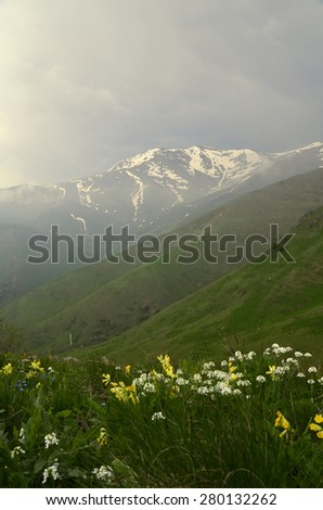 mountain peak maymekh - stock photo
