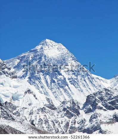 mountain peak of Mount Everest - stock photo