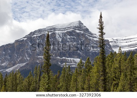 Mountain peaks in around Cline valley, Near Jasper and Banff National Park, Alberta Canada - stock photo