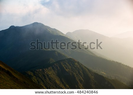 mountain peaks, landscape tops of high mountains, the Ukrainian Carpathians, Europe, nature, large size photo