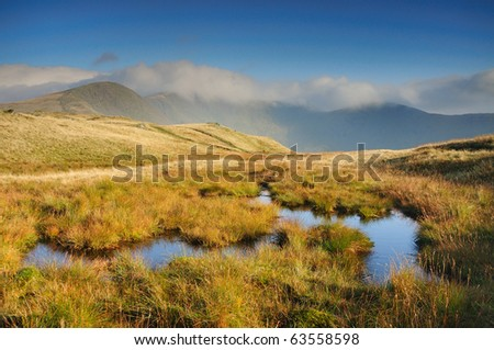 Mountain pools in the English Lake District, with Fairfield and Great Rigg in the background - stock photo