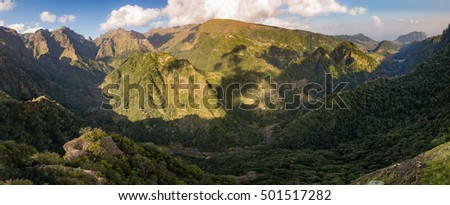 Mountain rainforest hill valley view from Balcoes levada, Madeira island panorama Balcoes
