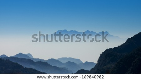 mountain range and morning mist