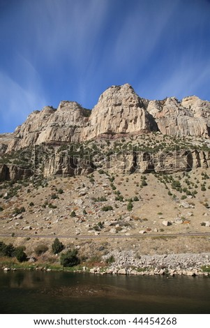 Mountain Range and River - Wyoming - stock photo