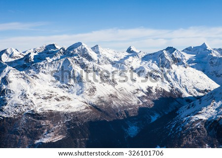 Mountain Range In Solden; Otztal Alps; Tirol; Austria - stock photo