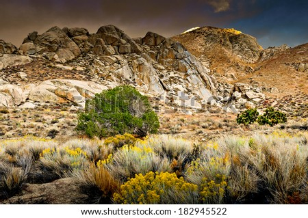 Mountain range in the Eastern Sierras with a desert foreground. - stock photo