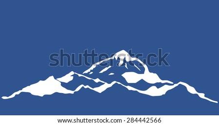 Mountain range isolated. illustration. - stock photo