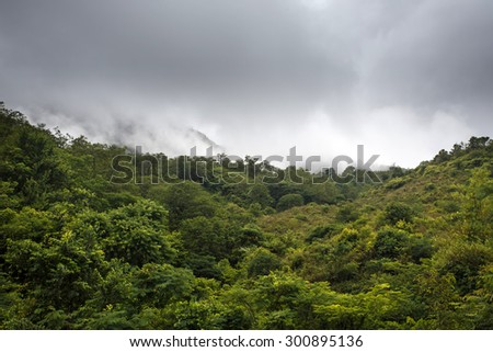Mountain Range Landscape in Chin State, Western Myanmar (Burma) - stock photo