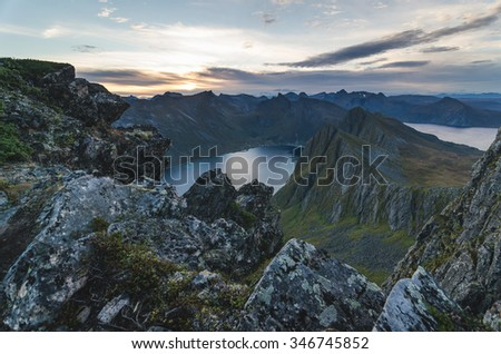 mountain range of Senja Norway - stock photo