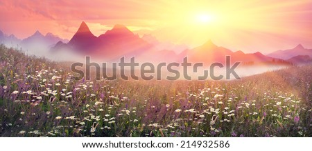 Mountain ranges of Ukraine with high alpine peaks and picturesque villages of the Carpathian attract tourists, sportsmen and artists with its beauty, naturalness, closeness to nature - stock photo