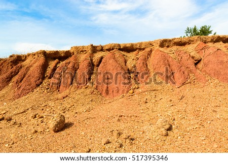 Mountain red soil with traces of water flowing through, for use as a raw material in the photo retouching and printing