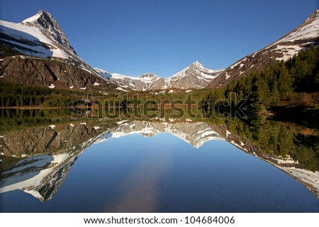 Mountain reflection in lake, Glacier National Park, Montana