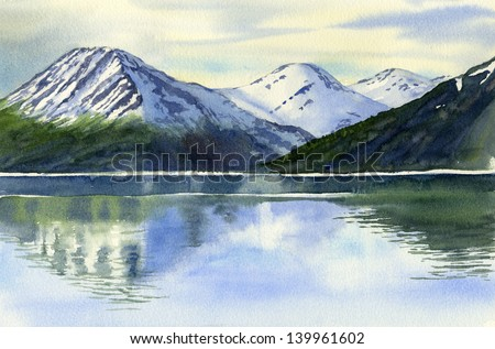 Mountain Reflections, watercolor landscape painting of snow capped mountains reflected in lake or inlet. - stock photo