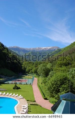 mountain resort - stock photo