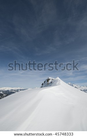 Mountain ridge and view of the Beaufortain under snow, Savoy, Areches, France, Alps