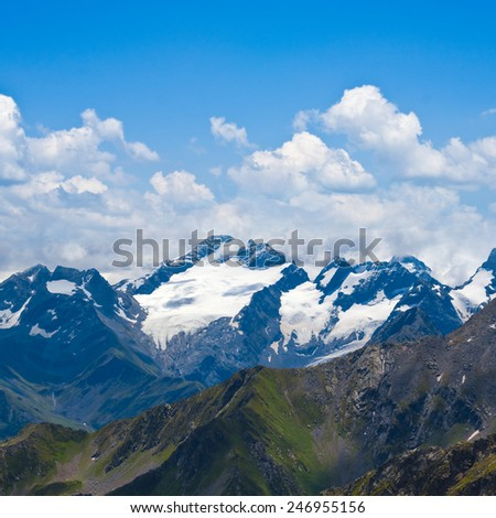mountain ridge scene - stock photo