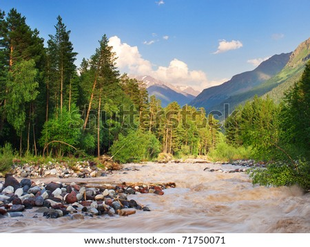 Mountain river amongst wood on background of the high mountains. - stock photo