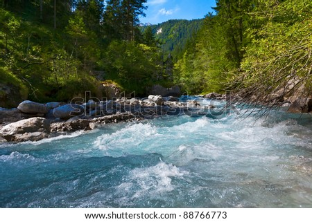 Mountain river. Bavaria. - stock photo