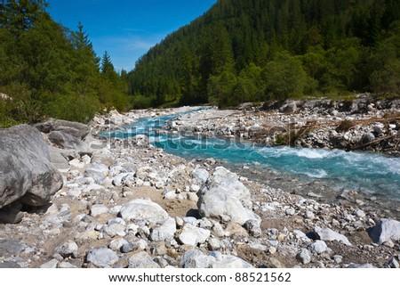 Mountain river. Boulders. Bavaria. - stock photo