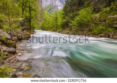 mountain river in Abkhazia - stock photo
