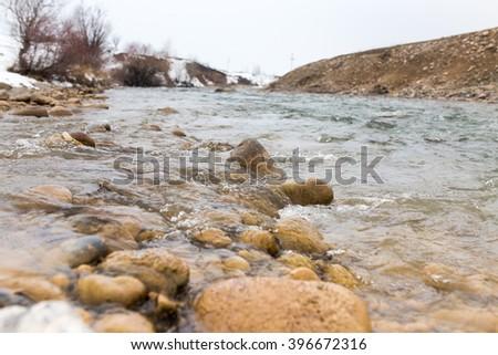 mountain river in Kazakhstan in nature - stock photo