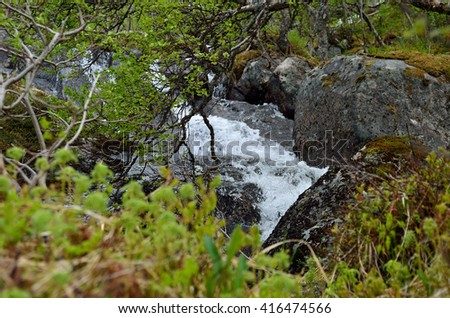 mountain river in lush green nature - stock photo
