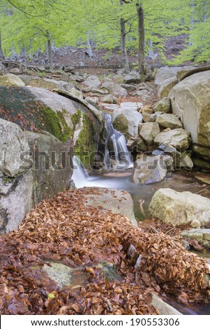 mountain river in spring in Montseny (catalonia,spain) - stock photo