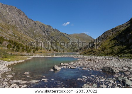 mountain river rocks - stock photo