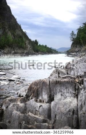 mountain river rough river - stock photo