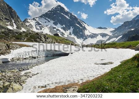 Mountain river, Russia, Siberia, Altai mountains, Katun ridge. - stock photo