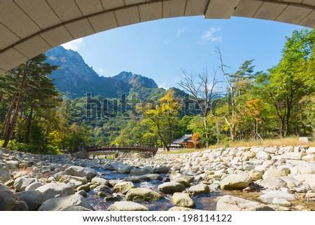 Mountain river view of the  Seoraksan National Park, South korea  - stock photo