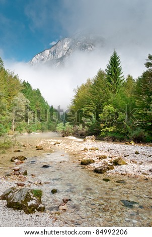 mountain river with big stones in forest - stock photo