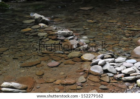 Mountain river with blue clean water and stones at  Catskils mountains upstate NY at the summer time. Blue Hall lagune area. - stock photo
