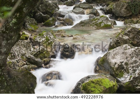 mountain river with  strong current