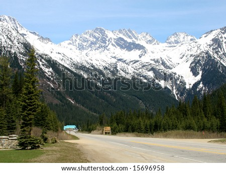 mountain road in canadian rockies.room for text