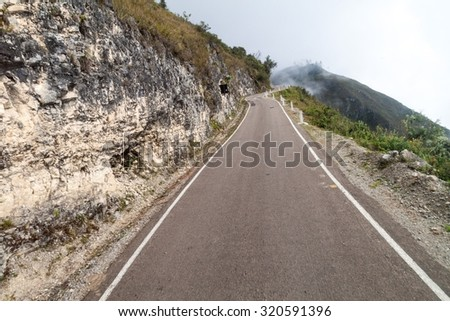 Mountain road in clouds. Stretch between Celendin and Balsas, Peru. - stock photo