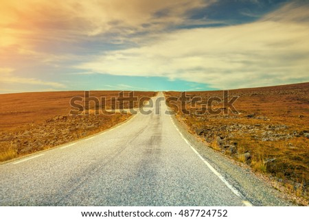 Mountain road in lapland