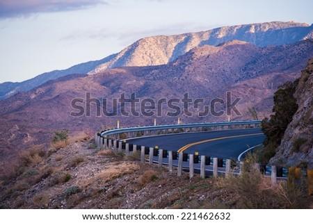 Mountain Road in Southern California. Coachella Valley Area. California, USA. - stock photo