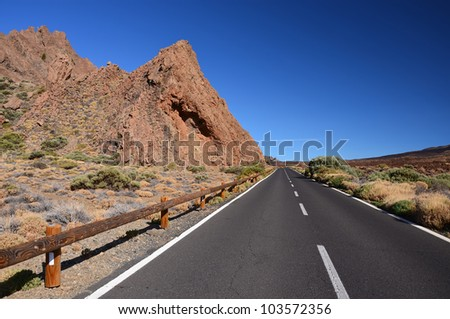 Mountain road in Teide National Park, Tenerife
