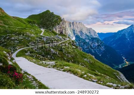 Mountain road (Julian Alps) - stock photo