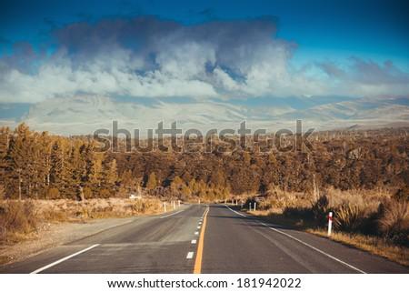 Mountain road. New Zealand - stock photo