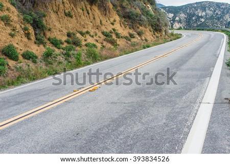 Mountain Road Straightaway - stock photo