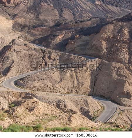 Mountain road with hairpin bends, Jordan - stock photo